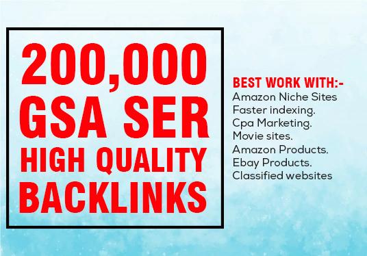 provide 200,000 GSA ser backlinks for seo rank
