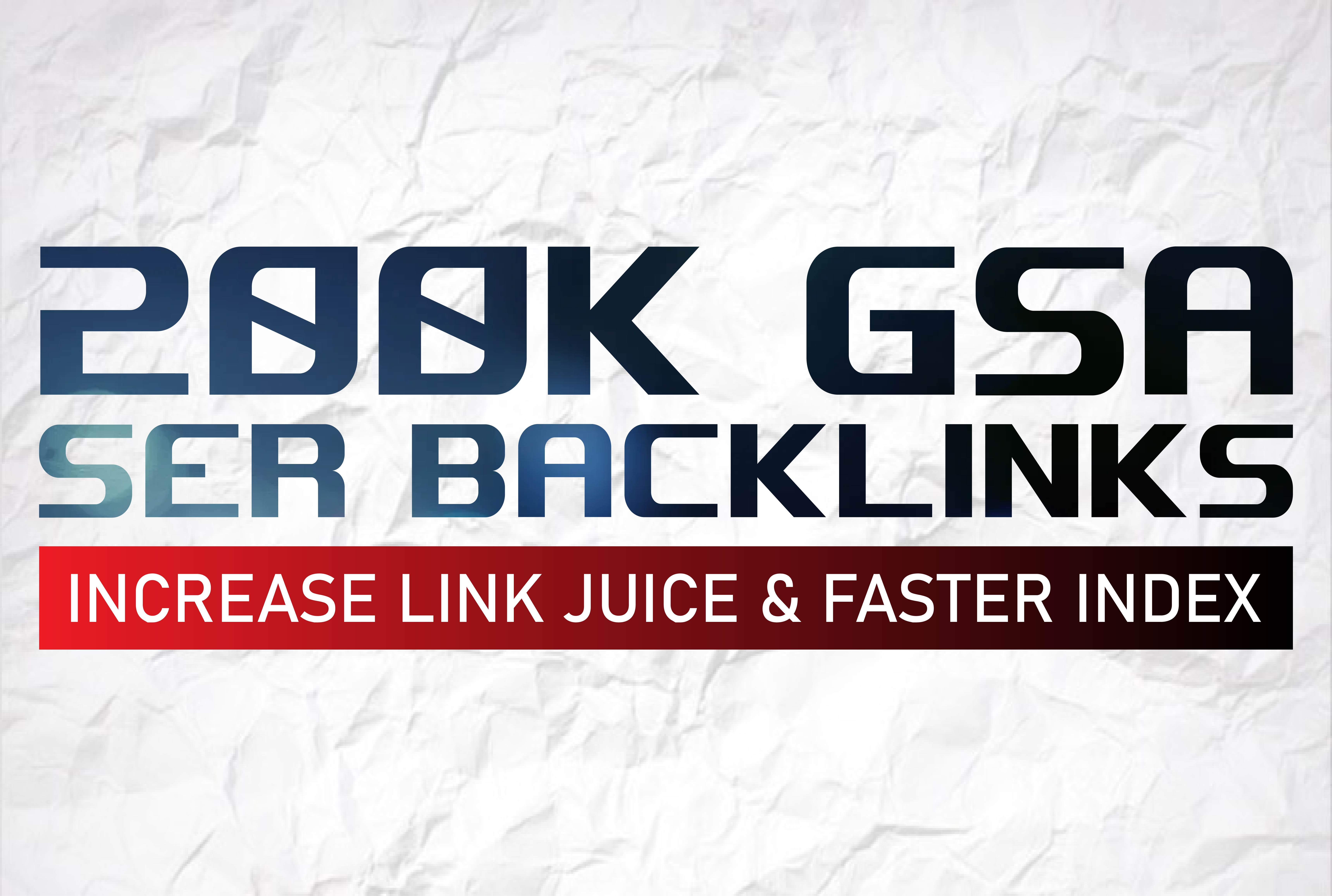 build 200k GSA backlinks for boost serps, seo solutions