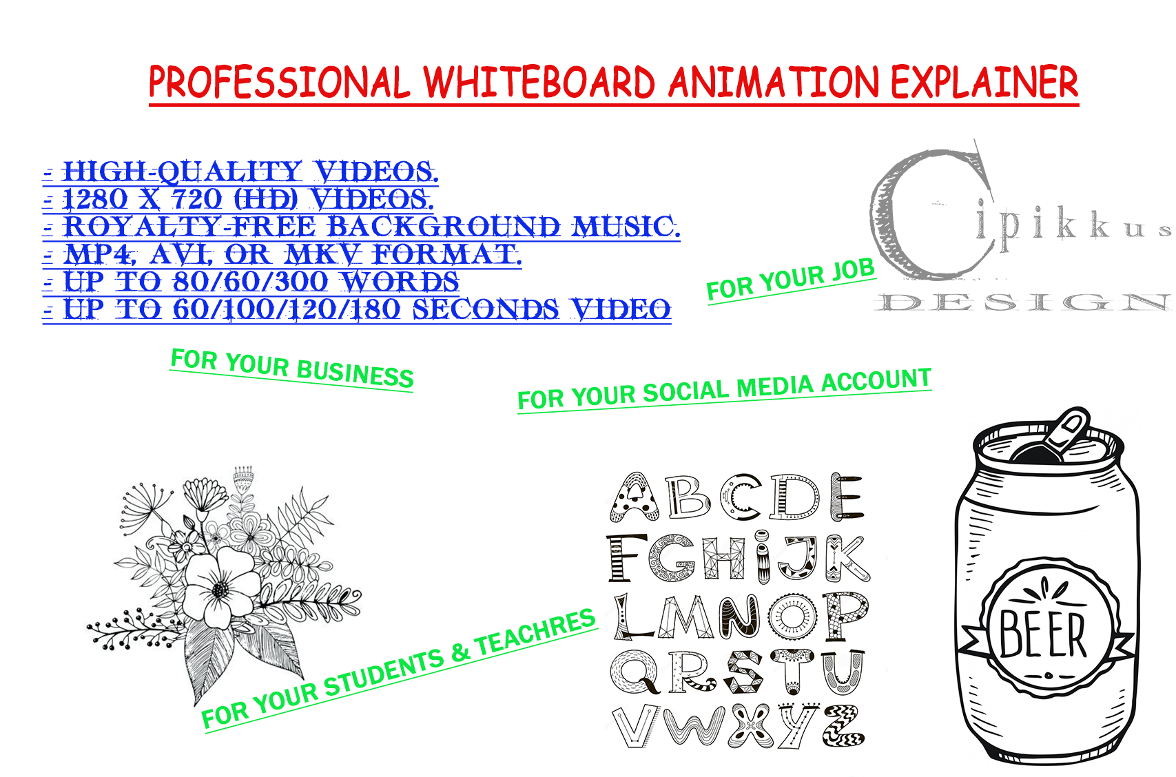 I will create PROFESSIONAL WHITEBOARD ANIMATION and EXPLAINED VIDEO