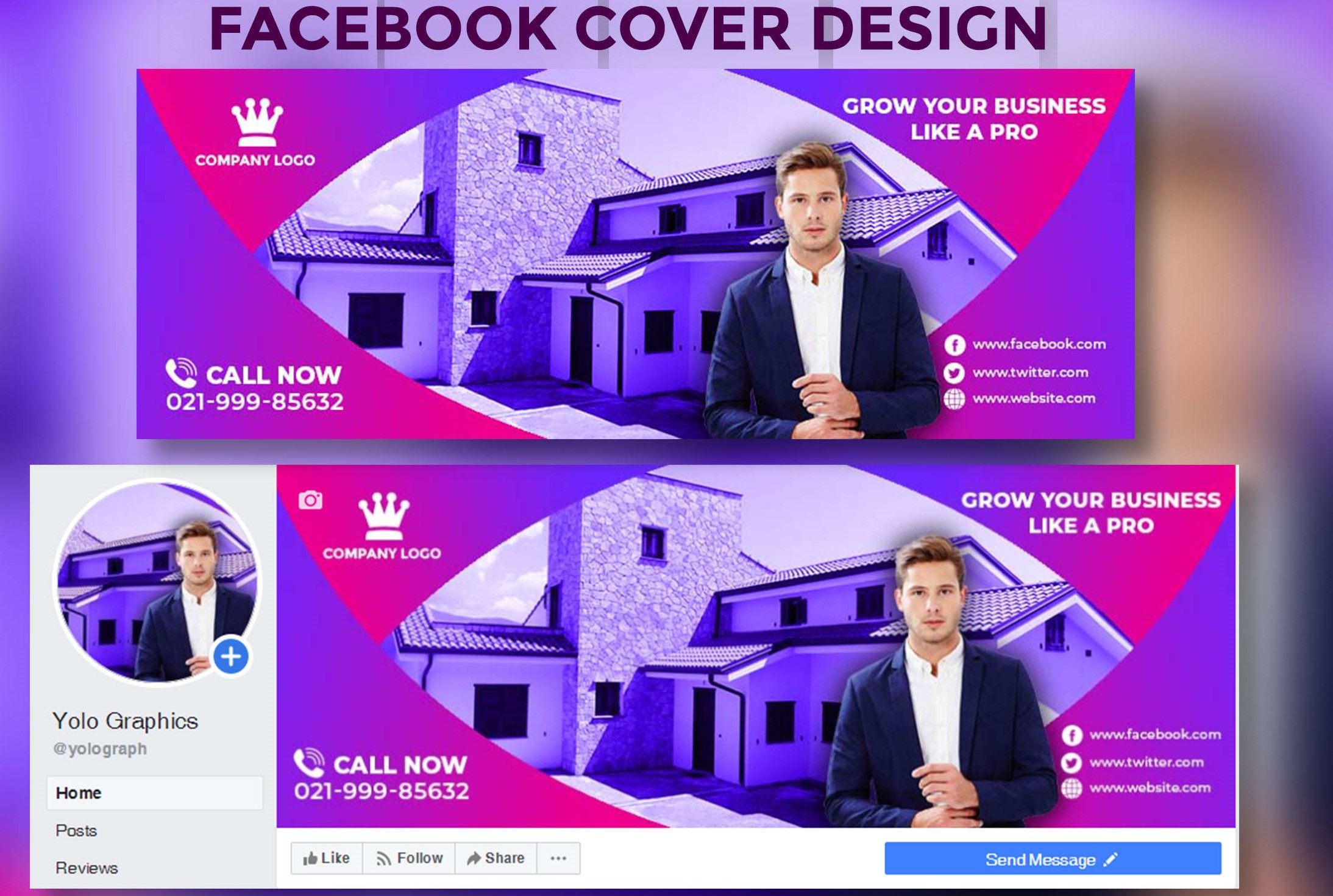 Design Professional Facebook/Instragram/twitter Cover Photo Banner
