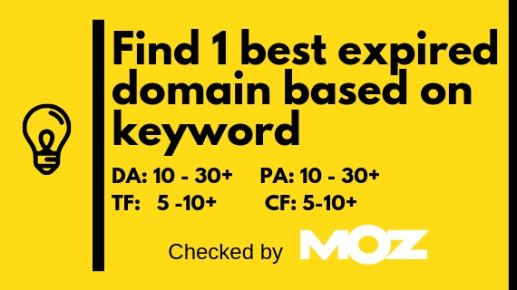 Find 1 best expired Domain based on keyword