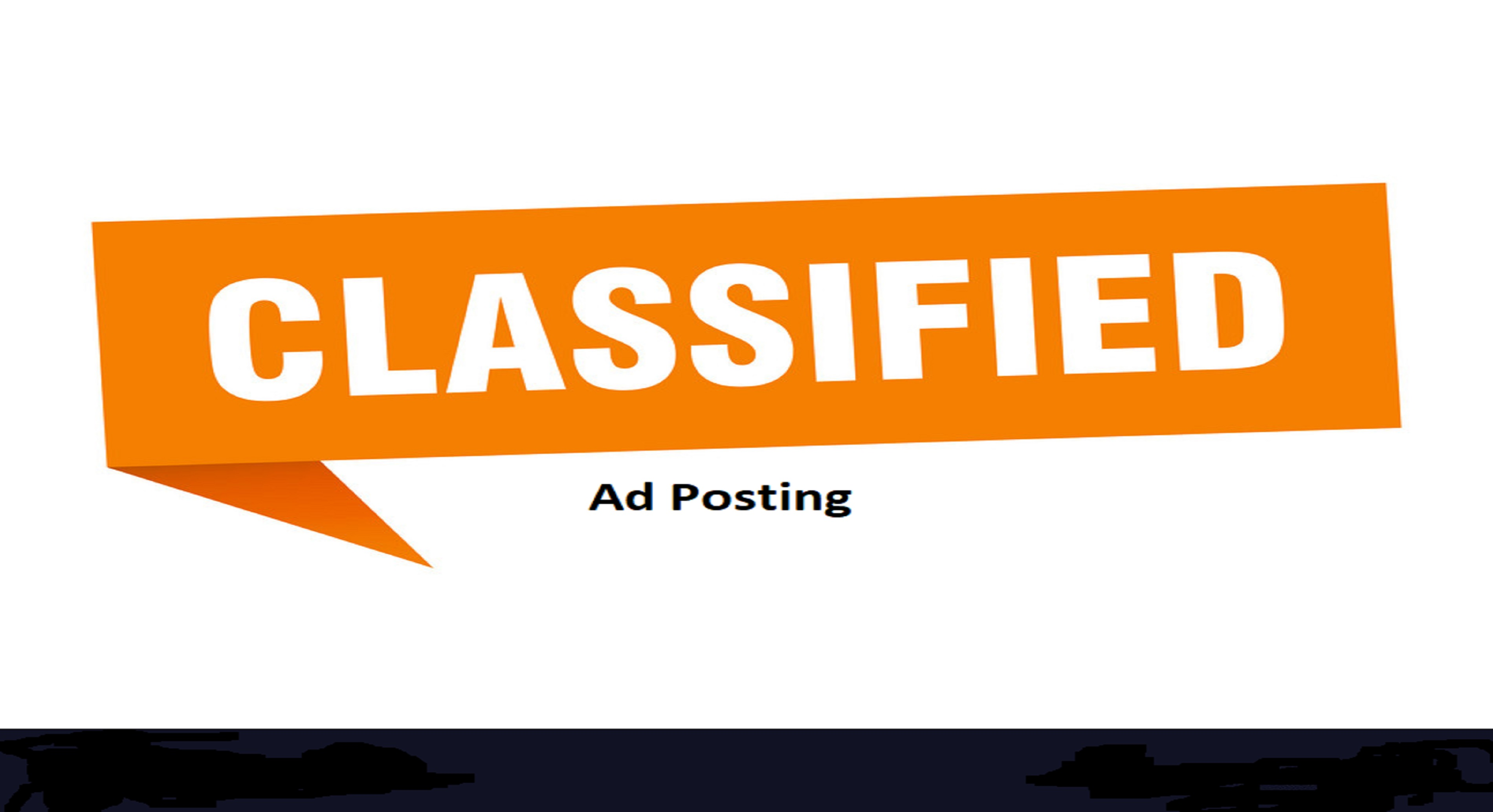 I can do 50 classified ad posting for top ranking sites with seo backlinks