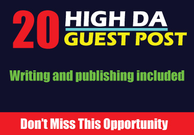 Get 20 High DA dofollow guest post SEO backlinks