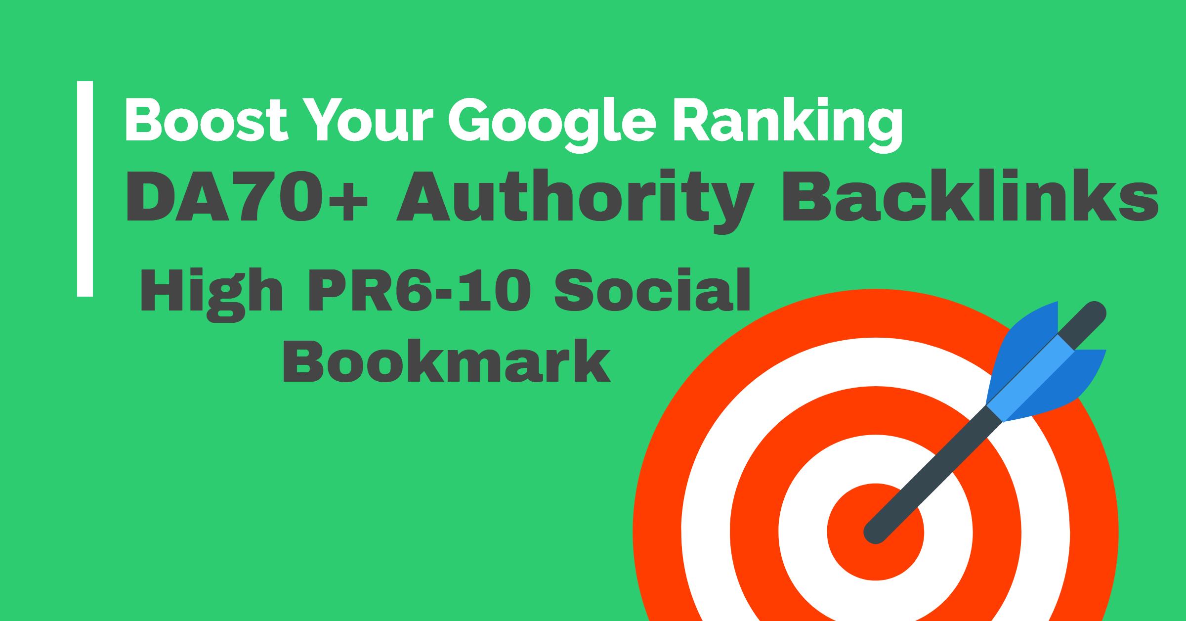 low spam score DA80+ 30 dofollow backlinks + 10 Social Bookmark