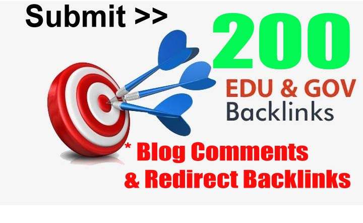 submit 200 Edu-gov Links from Blog Comments & Redirects Verified Backlinks
