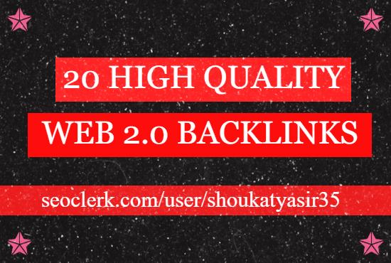 I will create 20 manual web 2 0 SEO backlinks