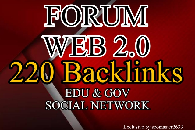 Manually 100 Forum,  20 Web 2.0,  100. Edu Profile & Social Backlinks from HIGH PR9-PR5