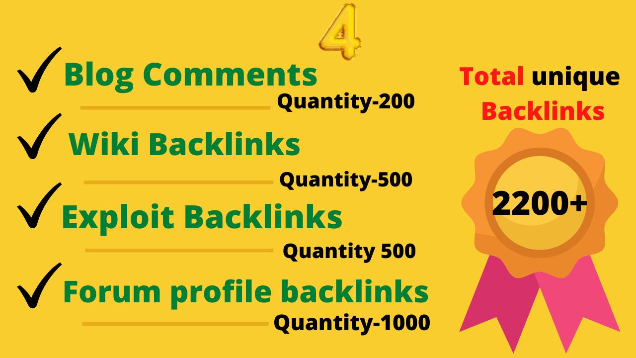 2200+seo backlinks Forum Profiles Backlinks,  Exploit Backlinks,  Wiki,  Blog comments
