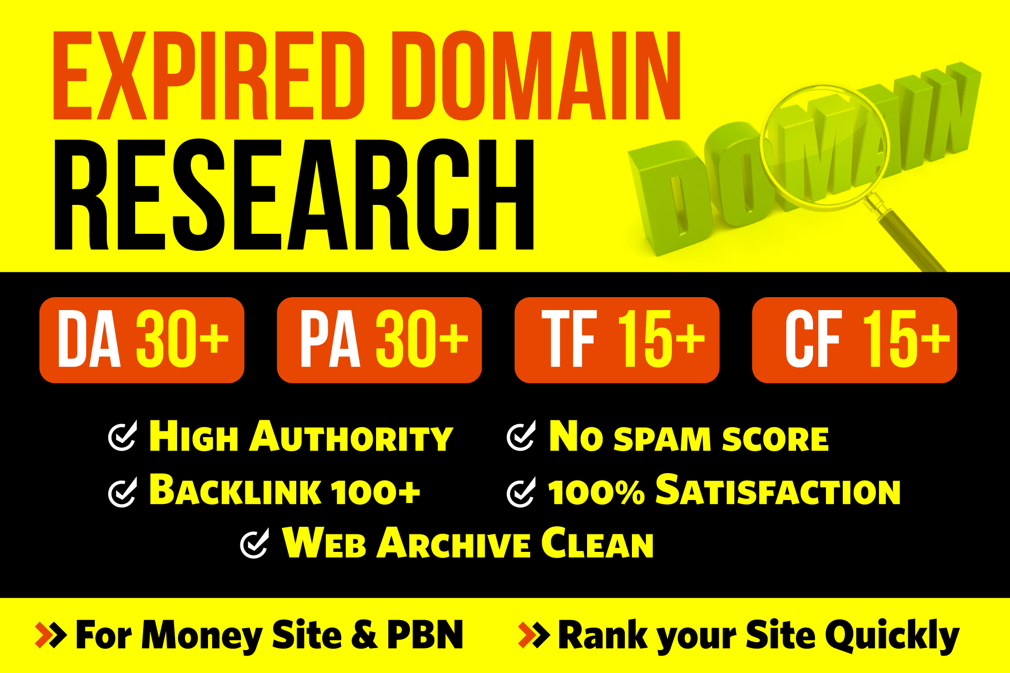 I will research 3 high DA PA expired domain