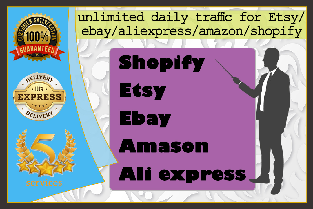 I will send unlimited real traffic to shopify amazon ebay etsy store