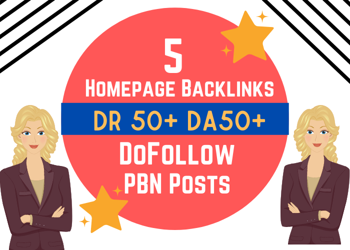 5 Extremely High DR 50 and DA 50 Plus Homepage Backlinks PBN