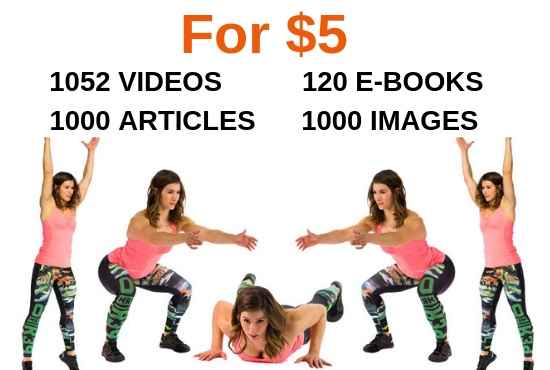 Give you 1052 Fitness Videos,  E Books,  Articles,  Photos