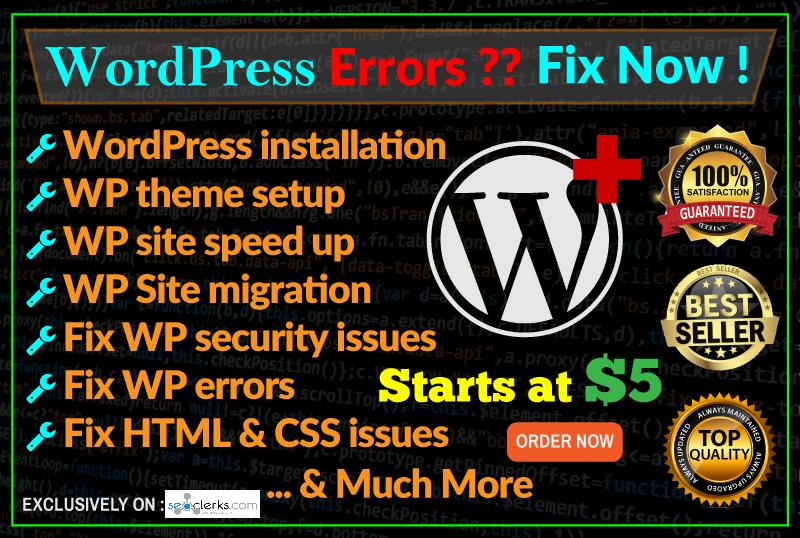 I Install Wordpress, Setup Theme And Fix Any Wp Issues Or Errors