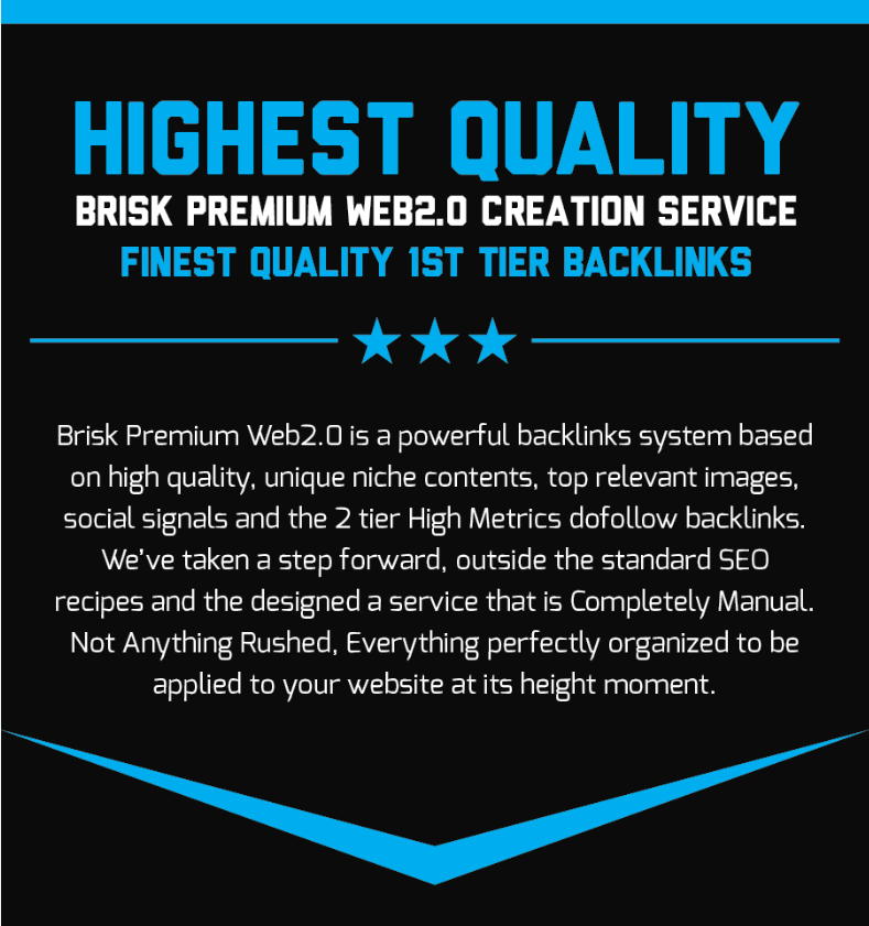 Highest Quality Brisk Premium Web2.0 Creation Service Finest Quality 1st Tier Backlinks
