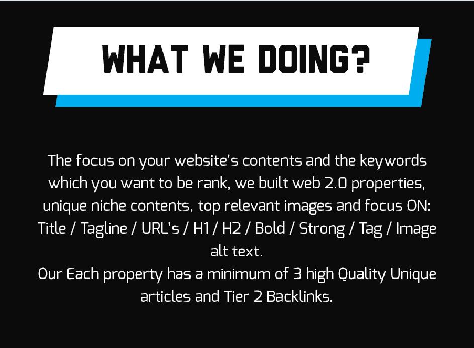 Highest Quality Brisk Premium Web2.0 Creation Service Finest Quality 1st Tier Backlinks