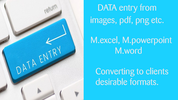 DATA entry from any source to M.excel. Conversion to any portable files. Done fast within 24H.