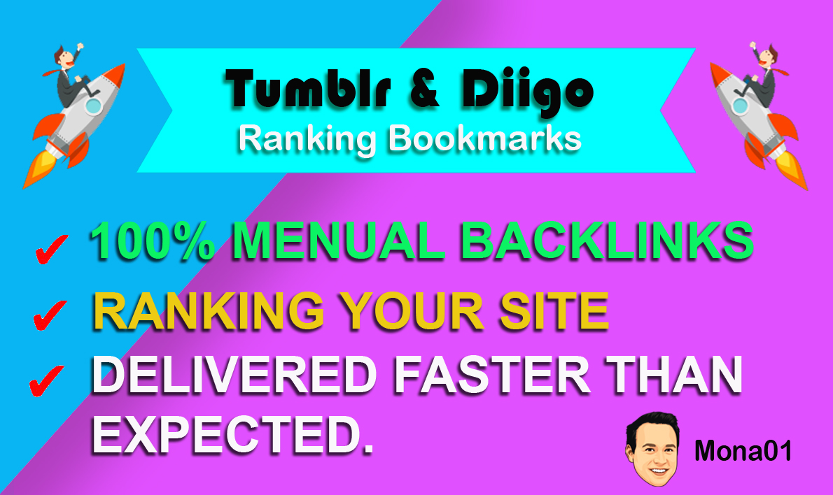 HQ 100 Diigo & 100 Tumblr Bookmarks SEO Real Traffic 100-PERCENT Manual Backlinks Site