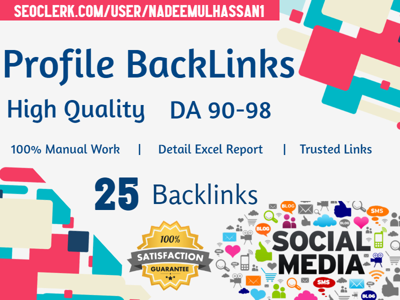 Manually Submit 25 High Authority Profile Backlinks