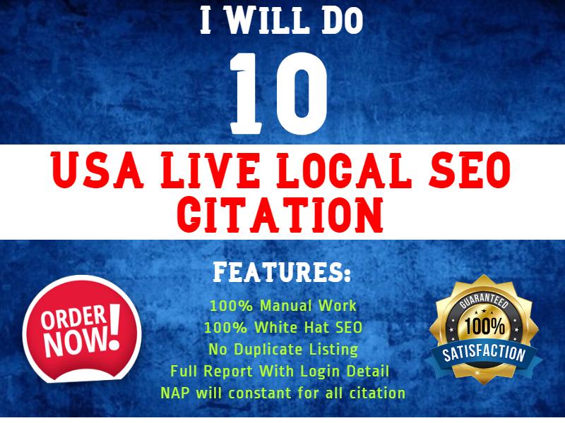 I will do 10 live USA local Citation