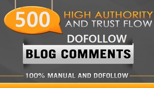 I do provide Manually 500 Dofollow blog comments backlink with high DA PA & TF CF