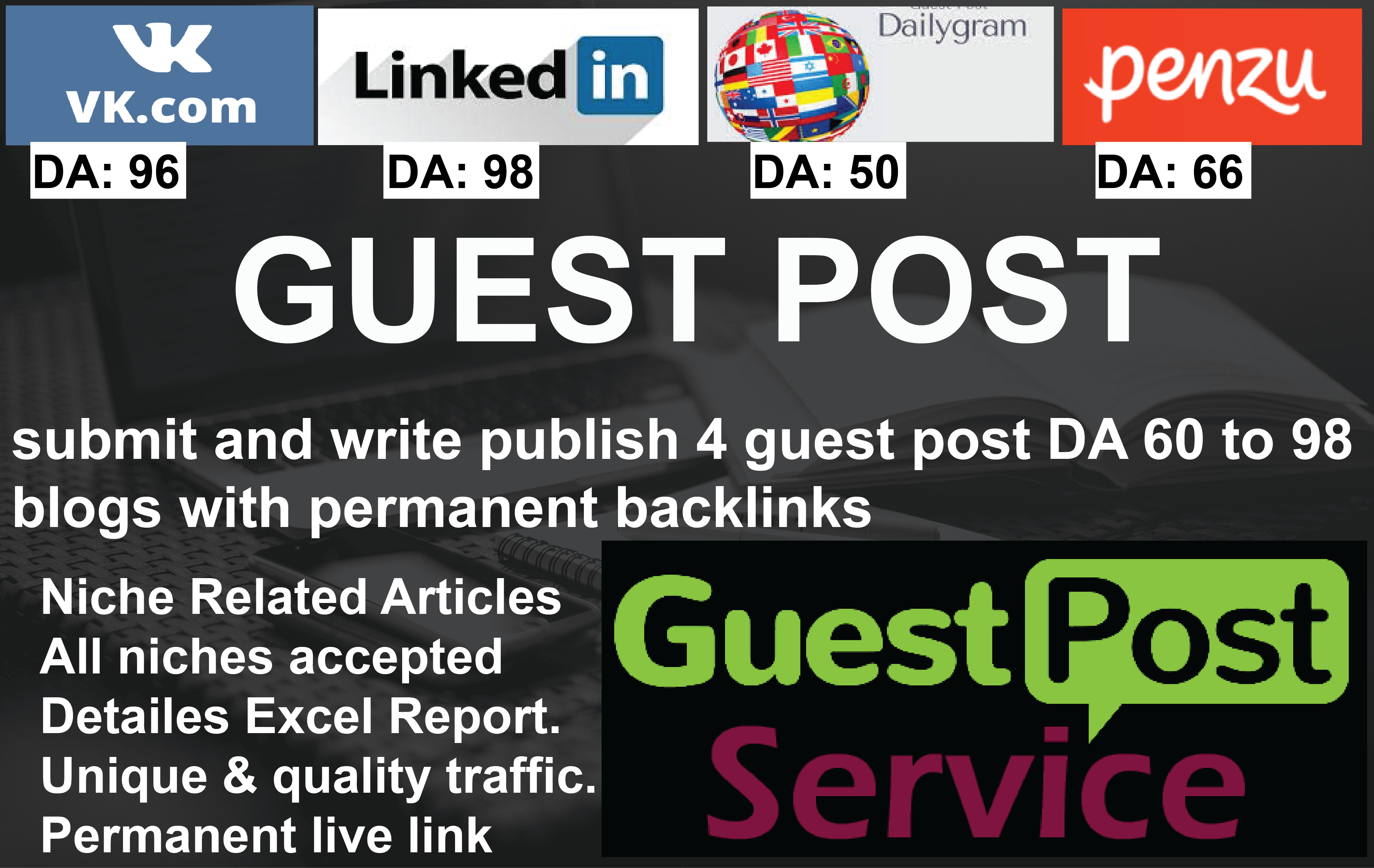 I will submit and write publish 4 guest post 80 da blogs with permanent backlinks
