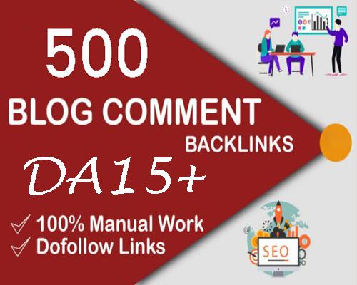 500 Dofollow Backlinks Blog Comment with DA 15plus