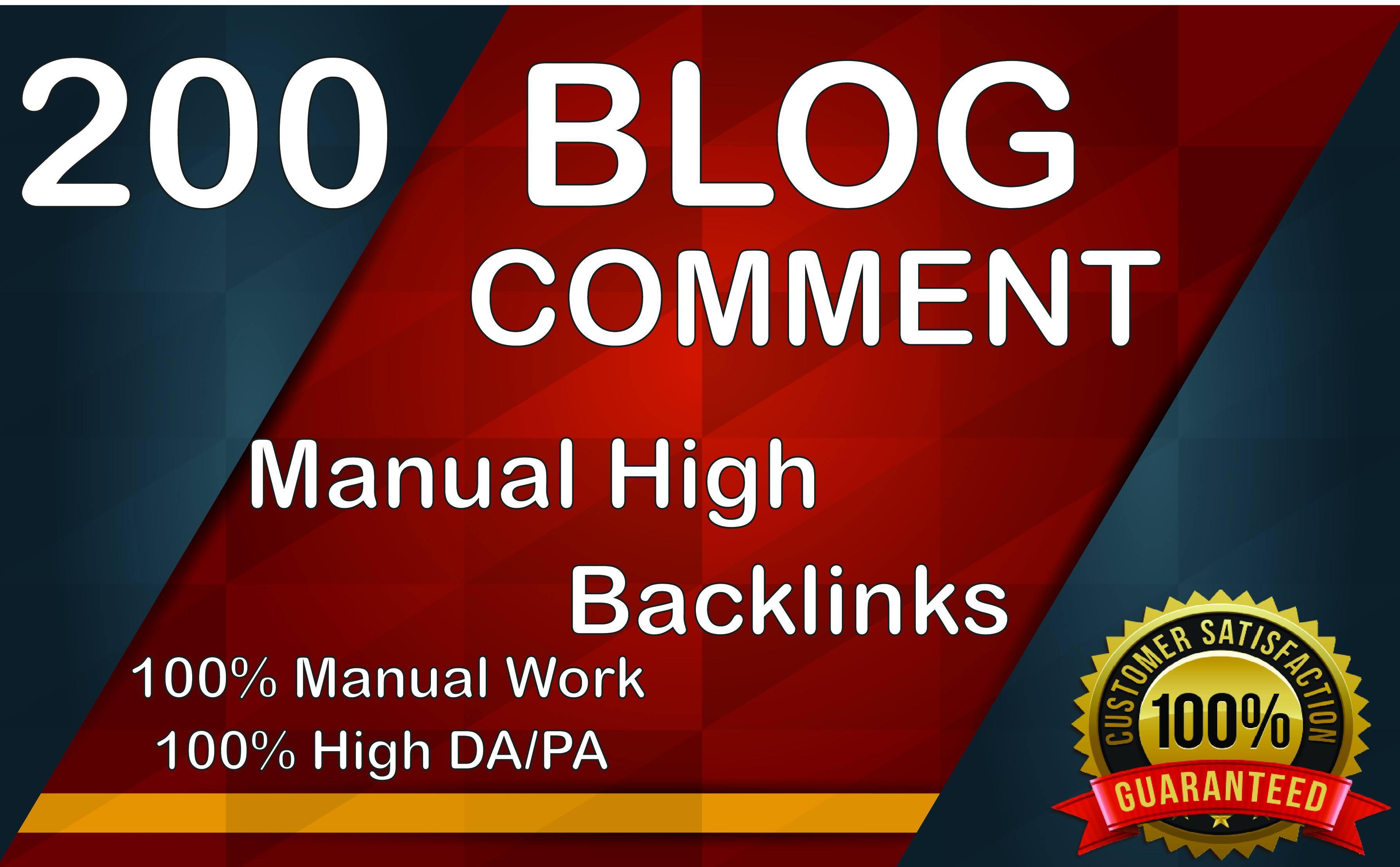 i will make 200 manual blog comment Backlinks Do follow Blog comments DA