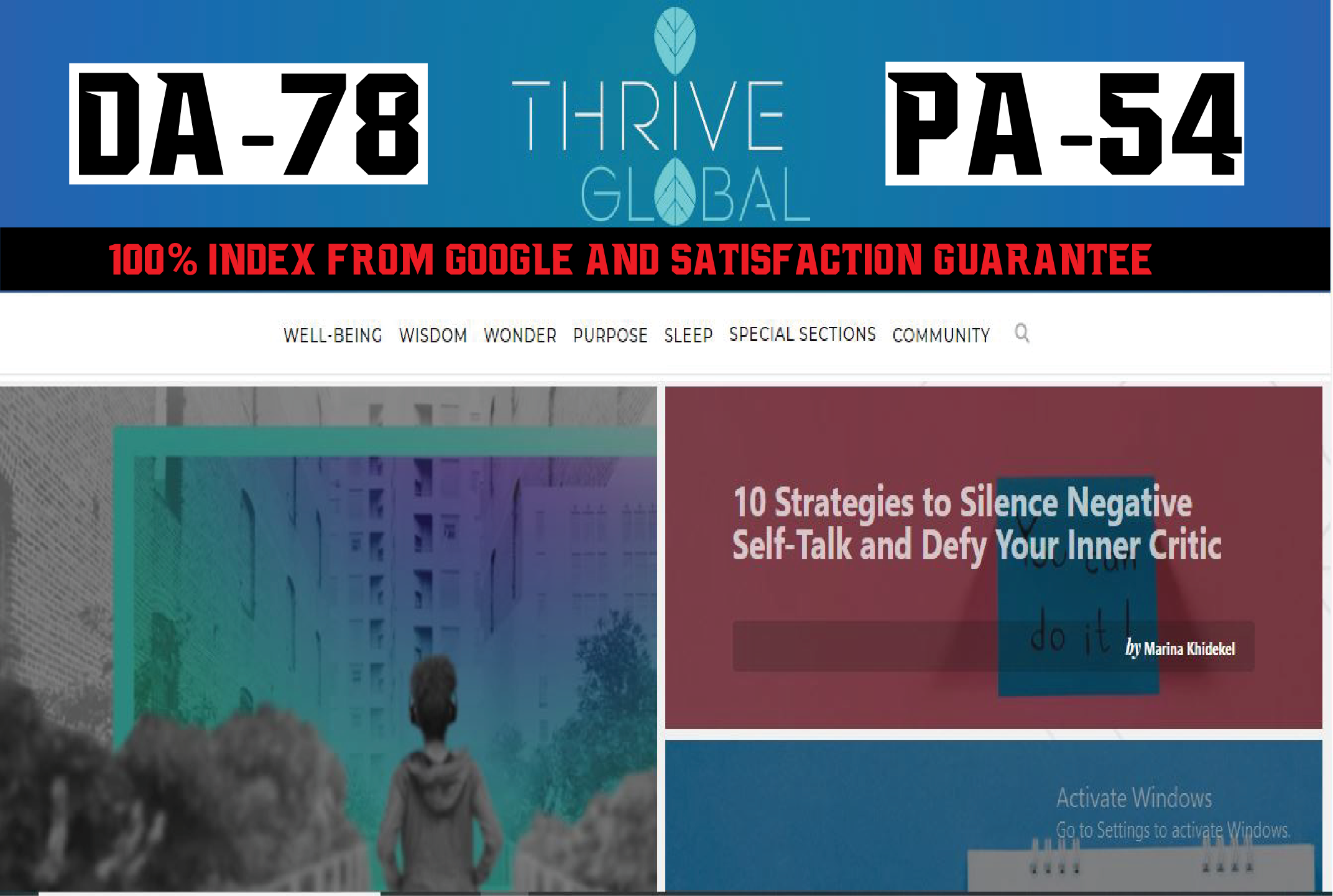 Write And Publish A Guest Post On Thriveglobal DA 63 Blog