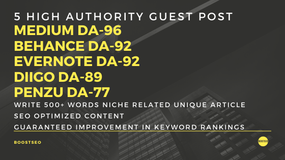 Write and Publish 5 Guest Post on High Domain Authority Websites to Boost your ranking