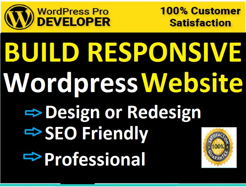 design or redesign responsive WordPress website, develop WordPress site