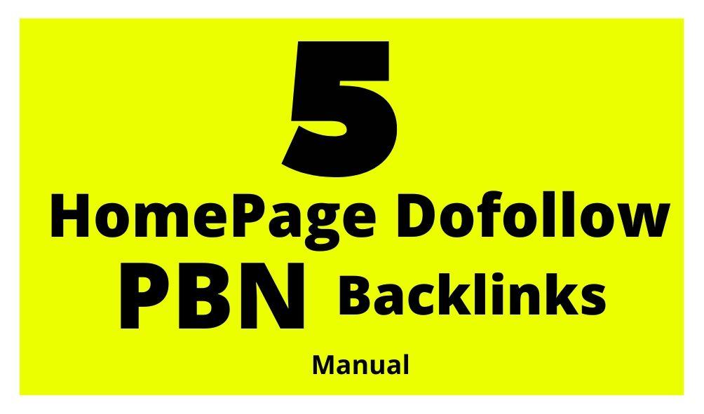 HomePage Dofollow PBN Backlinks 100 Manual Work