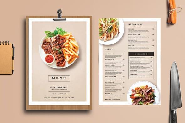 I will design professional restaurant,  takeaway or food menu