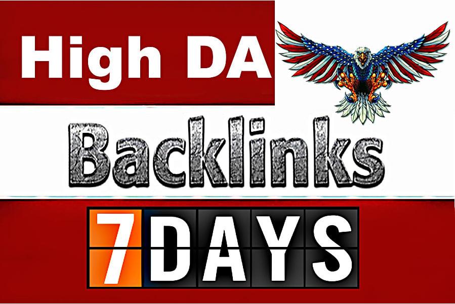 Provide you High DA PA USA backlinks Per Day - 7 days