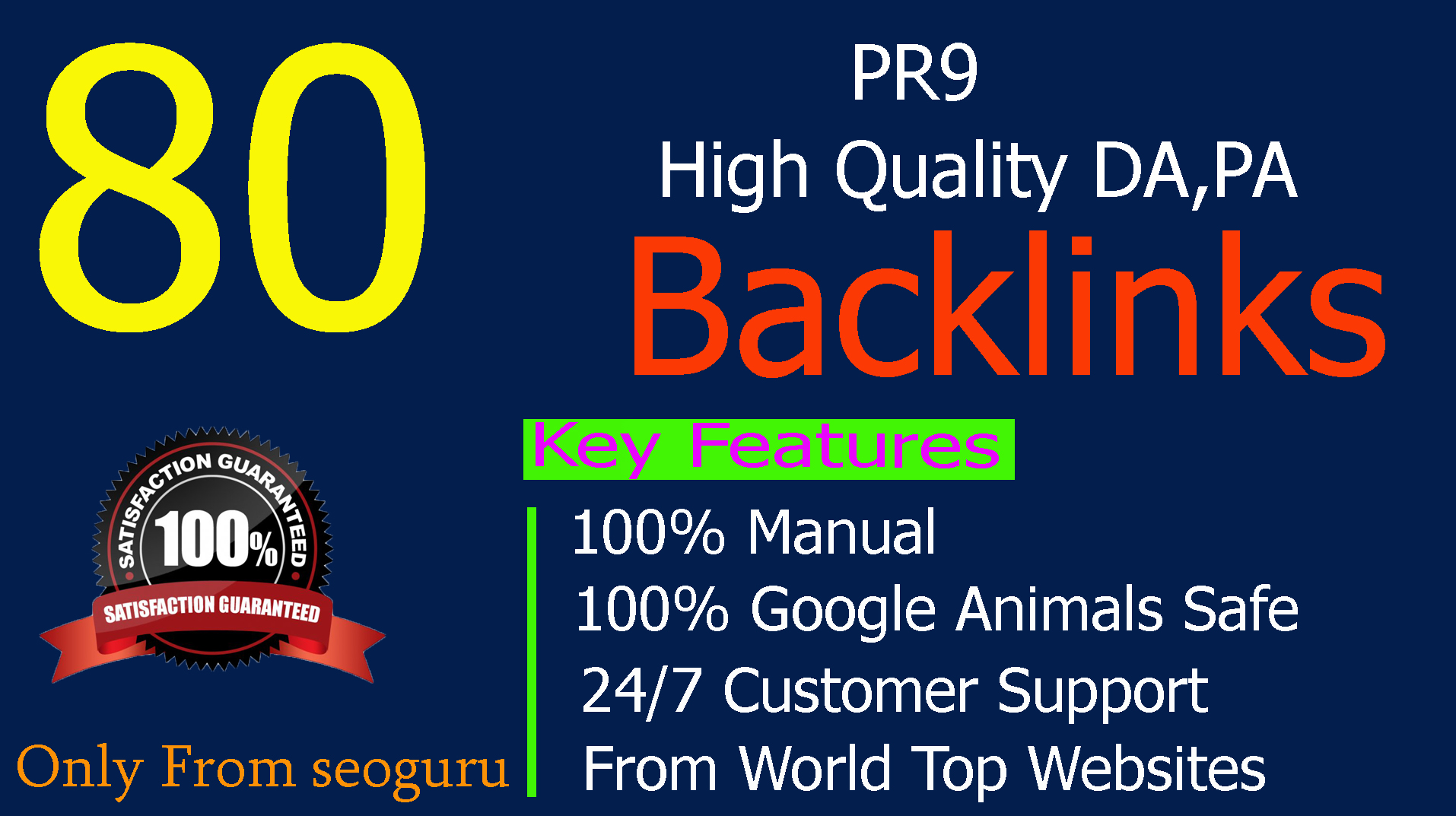I Will MANUALLY Do 80 UNIQUE PR10 SEO BackIinks on DA100-80 sites Plus Edu Links