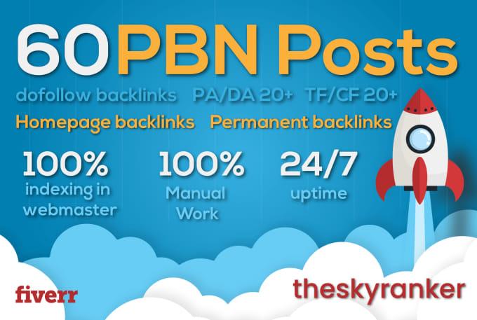 Create 60 UNIQUE HOMEPAGE PBN DA 20+ backlinks
