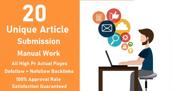 20 unique article submission with unique domain backlinks