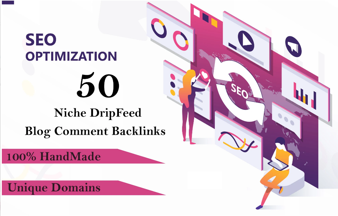 provide 50 niche dripfeed blog comment backlinks