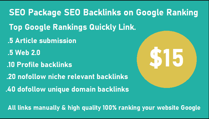 Create Manually seo package SEO Backlinks on Google ranking