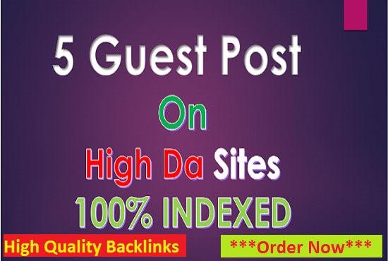 I will do SEO backlinks through high da guest posts permanent links