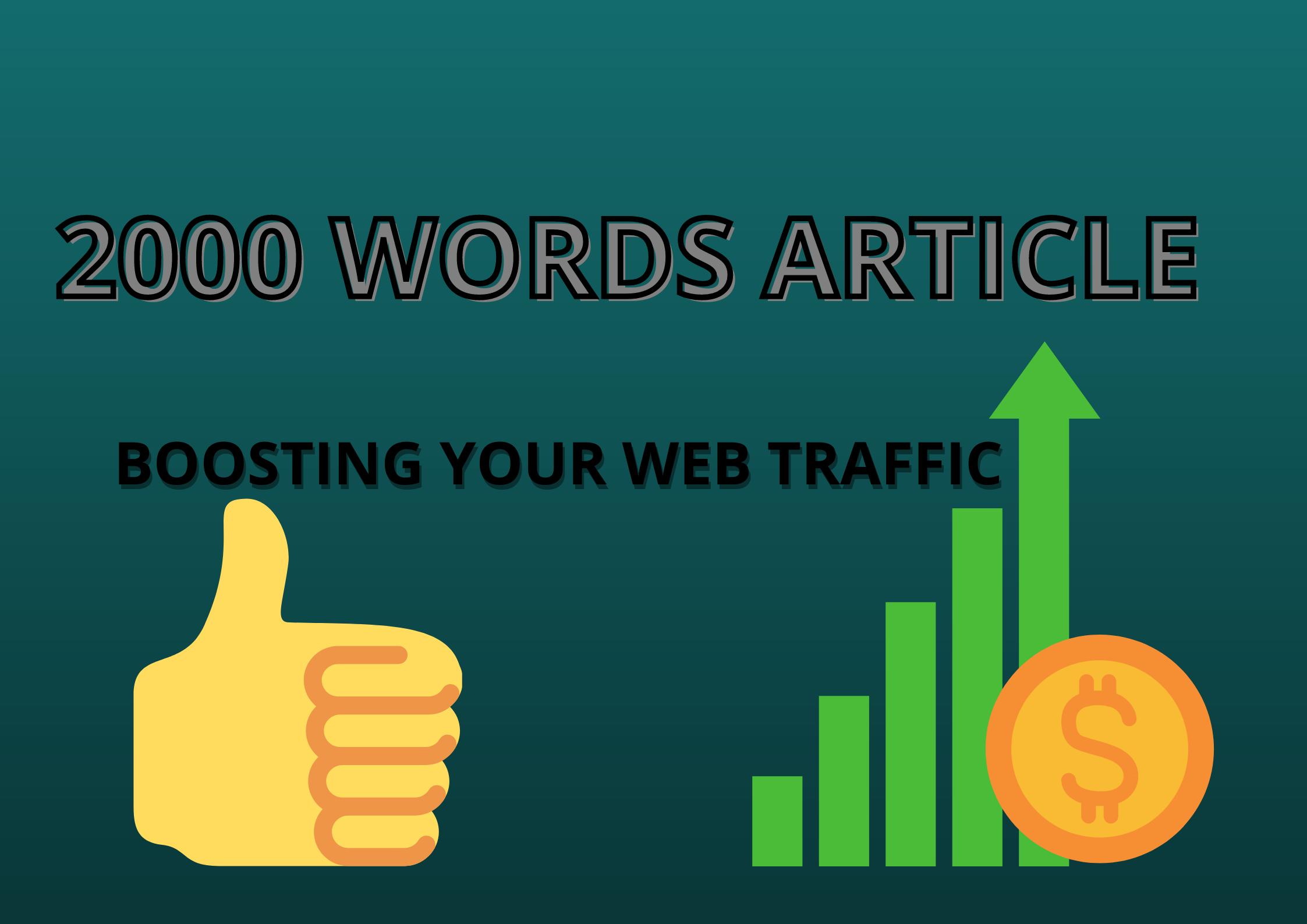 I will write premium 2000 words article