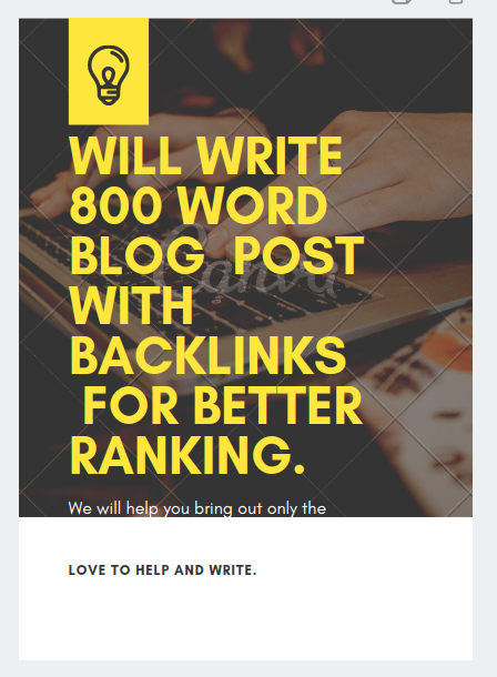Will write 800 plus blog post with backlinks for better ranking