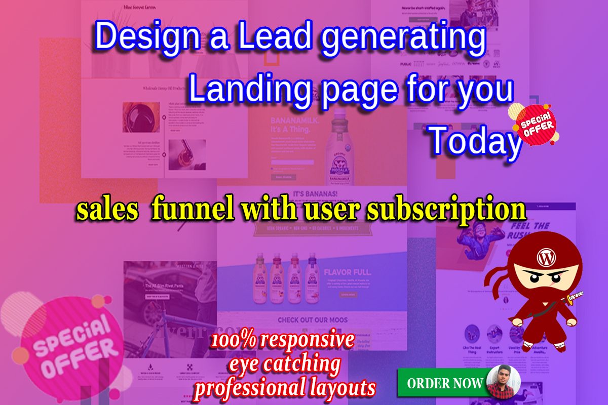 I will design a lead generating landing page for you