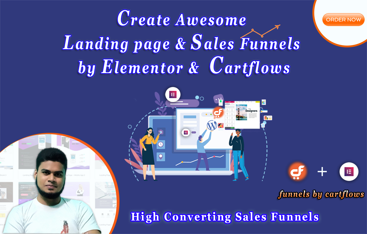I will create awesome landing page & sales funnels by elementor & cartflows