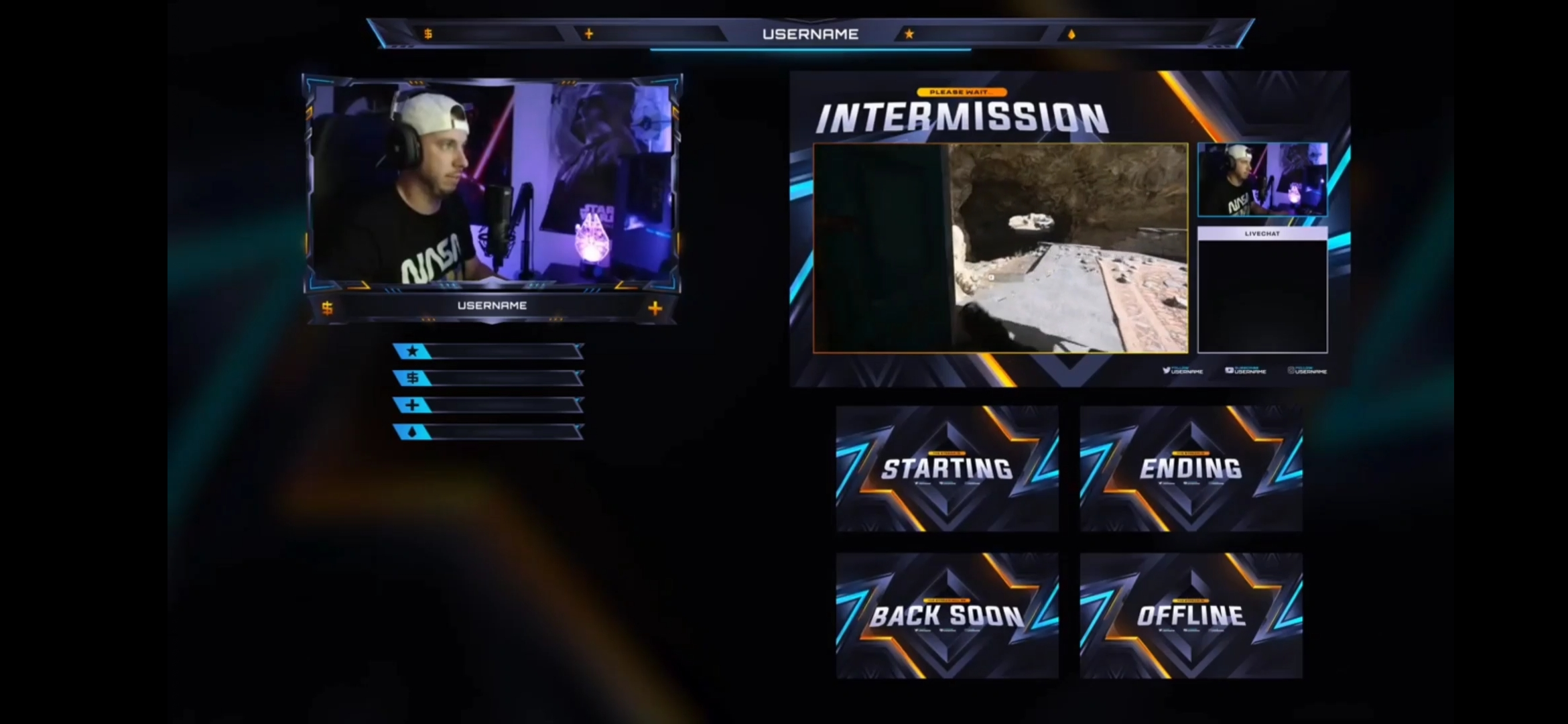 I will design ultimate animated twitch overlay,  panels,  screens,  alerts,  etc