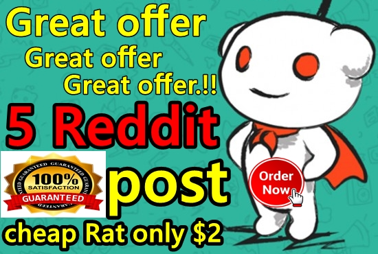 Real 5 Reddit post on your link with different Sub-Reddit