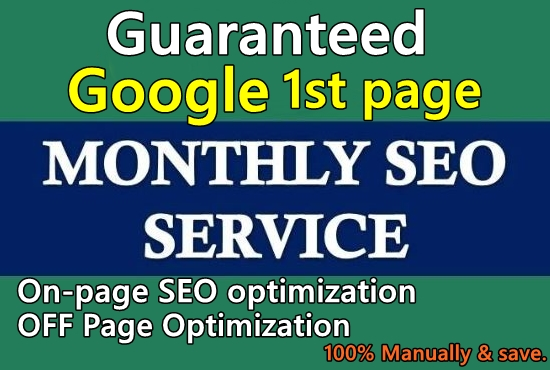 I will provide monthly SEO services for google 1st page ranking