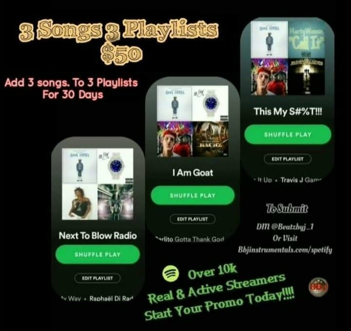 30 Day Playlist Placements add 3 songs to 3 active playlist boost streams organically