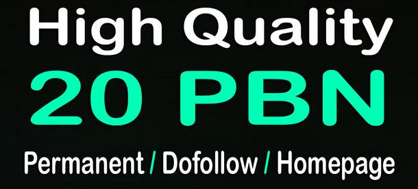 20 high pa da homepage pbn backlinks
