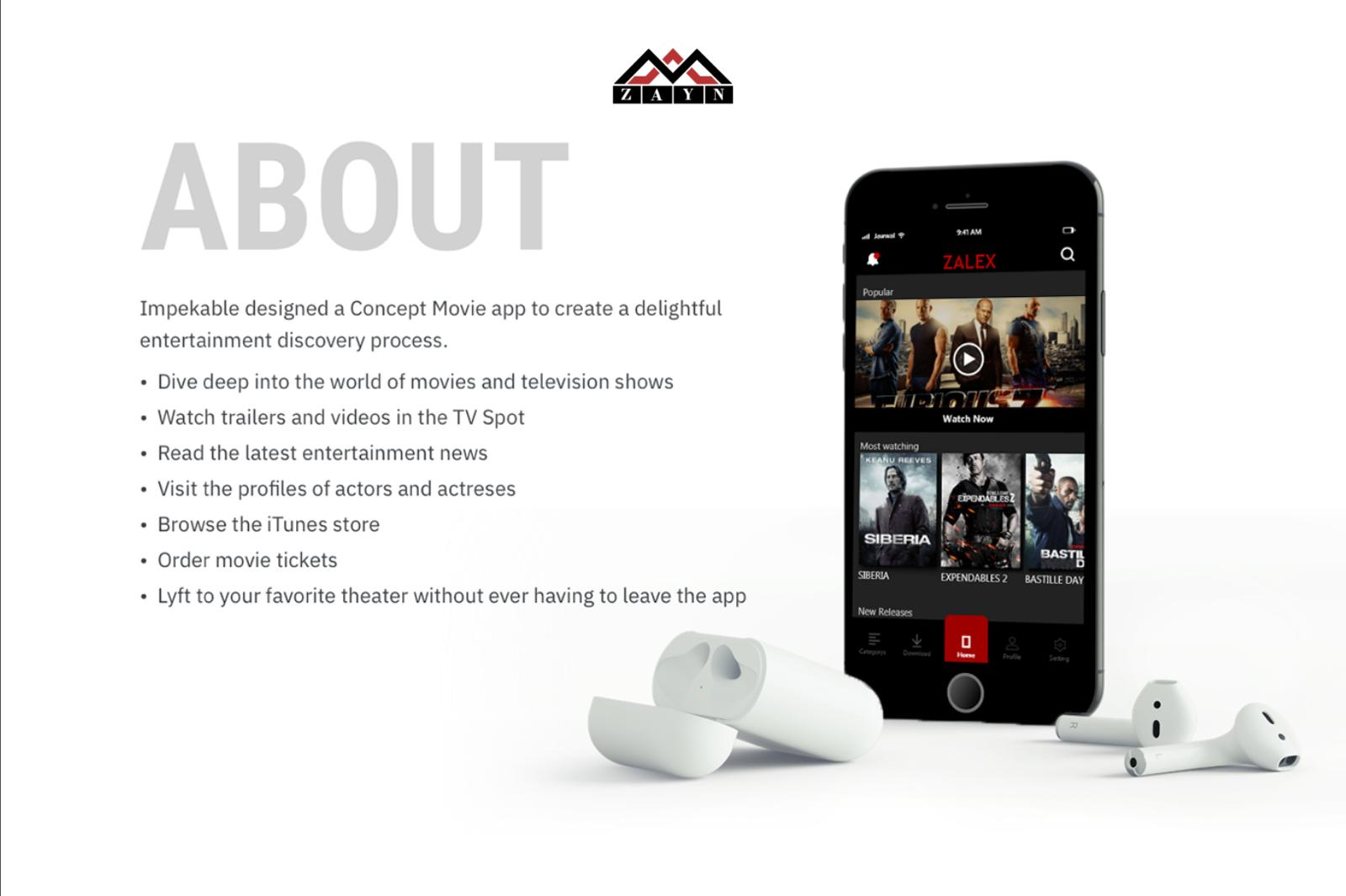 Mobile App Design - Zalex Movies