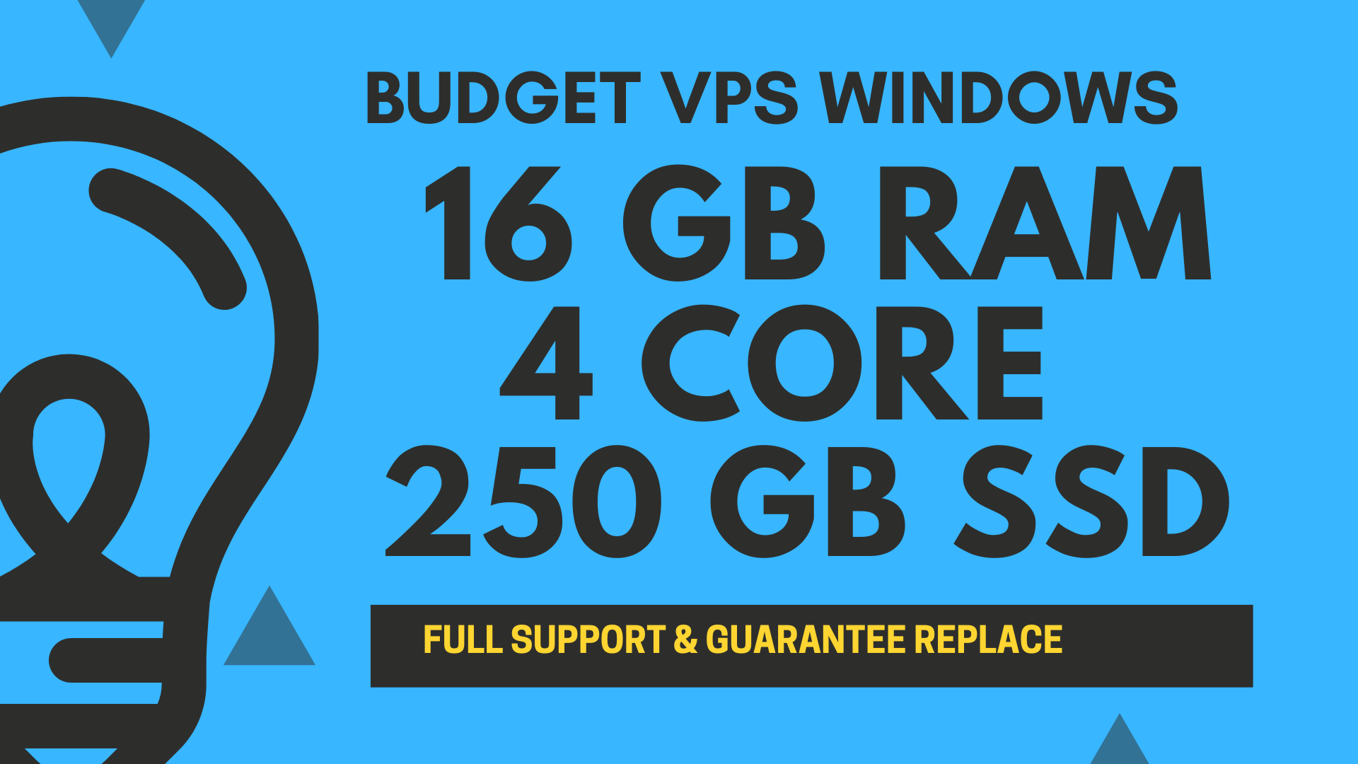 BUDGET Windows VPS RDP 16GB RAM 4CORE 250GB SSD